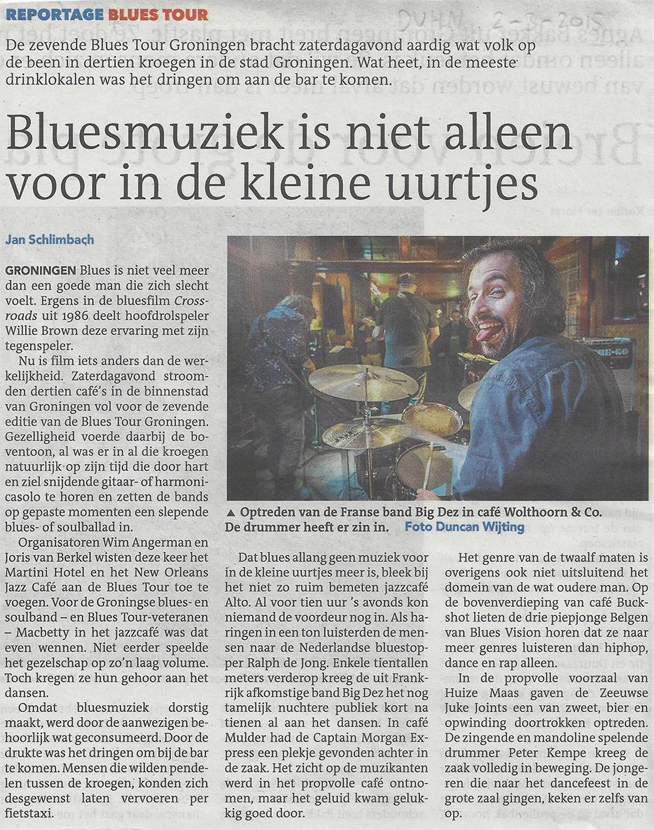 Dagblad-van-het-Noorden-2-3-2015-Blues-Tour-Groningen